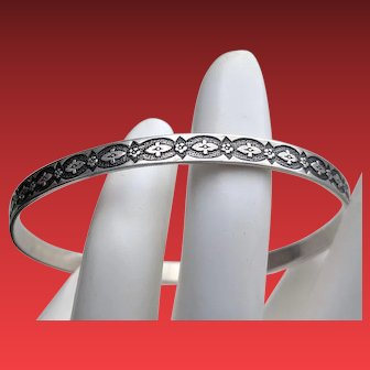 Early Felch & Co DANECRAFT Sterling FLORAL Bangle Bracelet