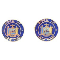 C.1960 Great Seal of the State of NEW YORK Enamel Cufflinks