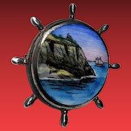 Art Deco Sterling Scenic Hand Painted Enamel Ships Wheel Pin