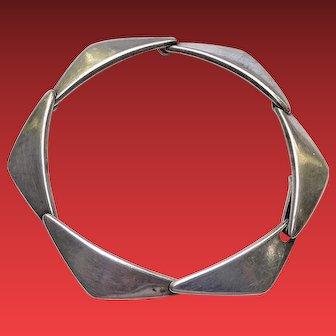 Denmark Modernist Sterling Peak Bracelet by Hans Hansen