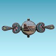 Victorian Italian Micro Mosaic Brooch Colosseum Rome Pin