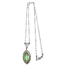 Art DECO Filigree Rhodium Plated Peridot Glass Pendant Necklace