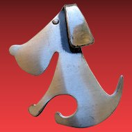 Mid Century Modernist Sterling Puppy Dog Pin by ORB