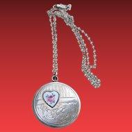 Edwardian Sterling Enamel Heart Slide Swing Locket Necklace