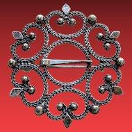 Vintage Traditional Scandinavian Silver Buckle Brooch Pin