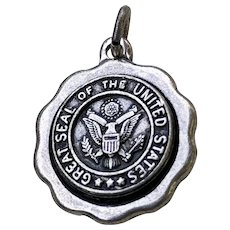 WWII US Army Sterling Great Seal of the US Sweetheart Charm