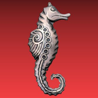 Unusual Deco Sterling Silver SEAHORSE Pin