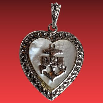 WW2 USN Sterling Marcasite HEART Sweetheart Necklace