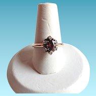 Victorian Rose Gold Garnet ROSE CUT Diamond Ring