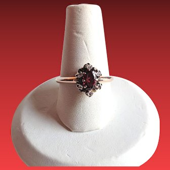 Victorian Rose Gold Garnet ROSE CUT Diamond Ring