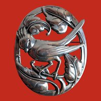 CORO Sterling Norseland Design Large Cardinal Bird Pin