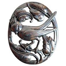 CORO Sterling Norseland Design Large Cardinal Bird Pin