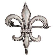 ANTIQUE Beaded STERLING Fleur de Lis Watch Pin Holder
