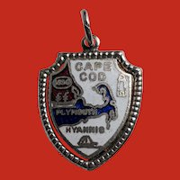 Sterling Red White Blue Enamel CAPE COD Shield Travel Charm