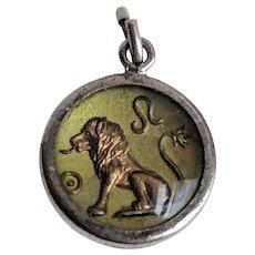 Vintage LEO Lion Zodiac Charm under Bubble Glass Dome