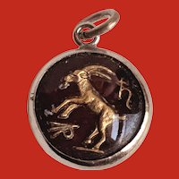 Sterling Capricorn GOAT Zodiac Charm under Bubble Glass Dome
