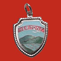 Vintage Sterling Enamel VERMONT Travel Shield State Charm