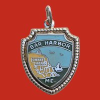 Vintage Sterling Enamel Bar Harbor MAINE Travel Shield Charm