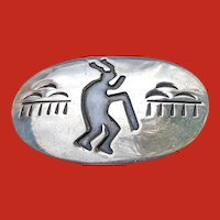Handmade NAVAJO Silver Overlay Medicine Man Pin