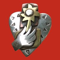 Modernist Silver HEART Flower in Hand Mixed Metals Pin