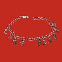 C.1930 Sterling LAKE PLACID Olympic Souvenir Charm Bracelet 7 1/4