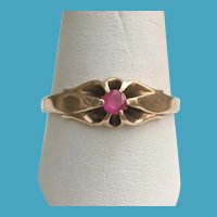 Edwardian 14K Gold Belcher Mounting Natural RUBY Ring