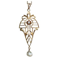 Art Nouveau 10K Gold Diamond Lavaliere Necklace