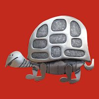 1950's Modernist Sterling TURTLE Pin by BEAU