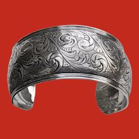 Early Charles THOMAE Sterling Victorian Style Cuff Bracelet