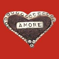 Susan ROGGIO Modernist Sterling AMORE Heart Pin