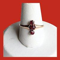 Victorian ROSE Gold 3 Bohemian Garnet Ring