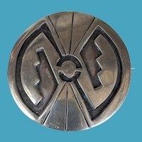 Vintage HOPI Silver Overlay Pin