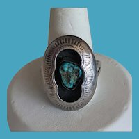 Navajo Hand Stamped Shadowbox Turquoise Nugget Silver Ring