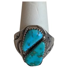 LARGE Hand Stamped Native American Silver TURQUOISE Ring