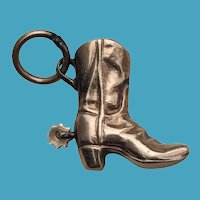 14K Gold COWBOY BOOT Charm Moving Spur 3 Dimensional Pendant