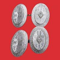 Edwardian Diamond Platinum on 14K Gold Double Face Cufflinks