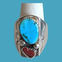 Hand Stamped Signed Native American Sterling CORAL Turquoise Ring 10 1/4