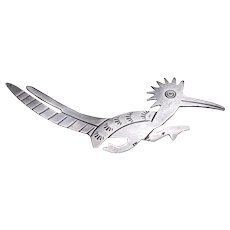 Native American Sterling Silver ROADRUNNER Pin