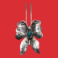 Hand Stamped Native American Silver Turquoise BUTTERFLY Necklace