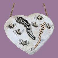UNIQUE Artist Signed Modernist Sterling HEART Necklace