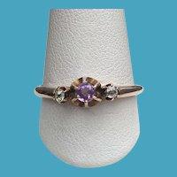 Victorian 10K Rose Gold Amethyst 2 Diamond Ring