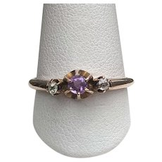 Victorian 10K Rose Gold Amethyst 2 Diamond Ring
