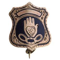 1885 Rose Gold Enamel Odd Fellows HEART Hand Fraternity Pin