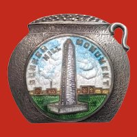 Sterling GUILLOCHE Enamel BOSTON Baked Bean Pot Bunker Hill MASS Souvenir Pin