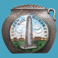 Sterling GUILLOCHE Enamel BOSTON Baked Bean Pot Bunker Hill MASS Souvenir Pin