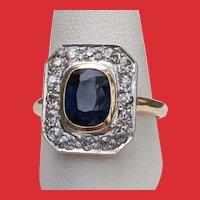 Belle Epoque 14K Gold Filigree Sapphire Diamonds Ring