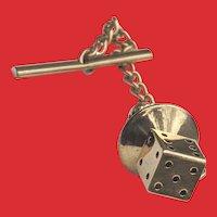 Retro 14K Gold DICE Tie Tack Pin 3 Dimensional