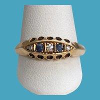 Victorian 18K Rose Cut Diamond Sapphire 5 Stone Ring