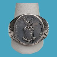 WWII Silver 10 Centavos COIN Trench Art Ring Manila Campaign 9 1/2