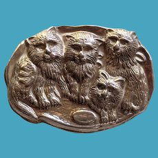 Vintage Sterling Repousse CAT Family Pin Signed
